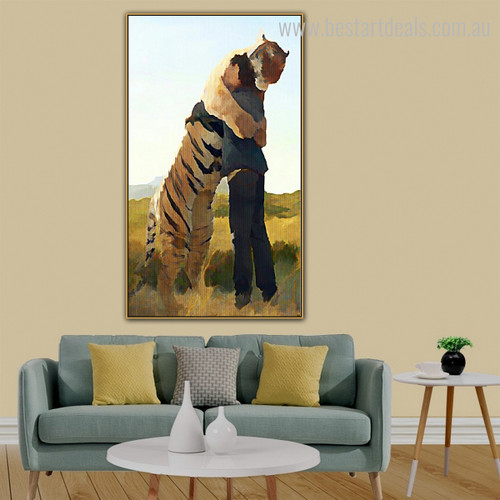 Tiger Hug Person Abstract Animal Contemporary Framed Scheme Photo Canvas Print for Room Wall Decor