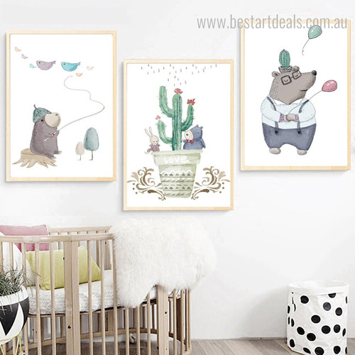 Bruin Mole Kids Abstract Animal Modern Framed Effigy Picture Canvas Print for Room Wall Outfit