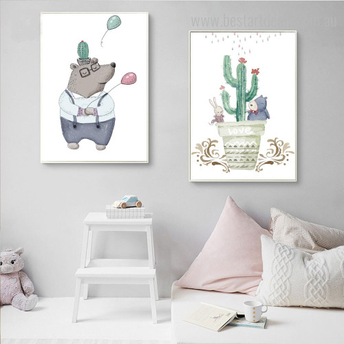 Echinopsis Pachanoi Cactus Botanical Kids Animal Framed Portmanteau Picture Canvas Print for Room Wall Flourish