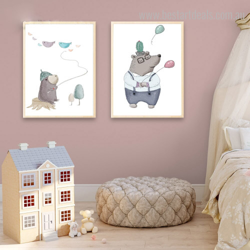 Mole Fish Kids Animal Abstract Modern Framed Smudge Portrait Canvas Print for Kids Room Wall Decoration