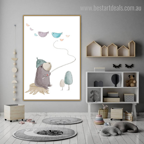 Mole Leaflet Kids Abstract Animal Modern Framed Painting Picture Canvas Print for Room Wall Getup