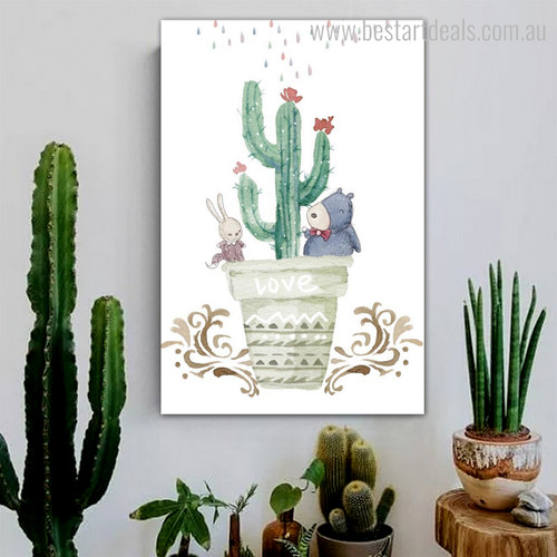 Trichocereus Pachanoi Cactus Botanical Modern Framed Effigy Image Canvas Print for Room Wall Finery