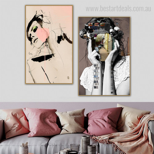 Delusive Visage Abstract Figure Modern Framed Scheme Picture Canvas Print for Room Wall Decor