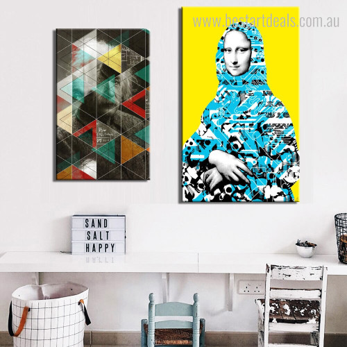Einstein and Monalisa Abstract Figure Modern Framed Smudge Portrait Canvas Print for Room Wall Molding