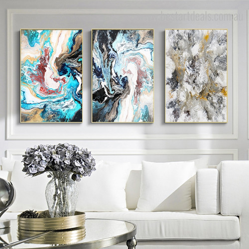 Chromatic Abstract Modern Framed Portmanteau Portrait Canvas Print for Living Room Wall Equipment