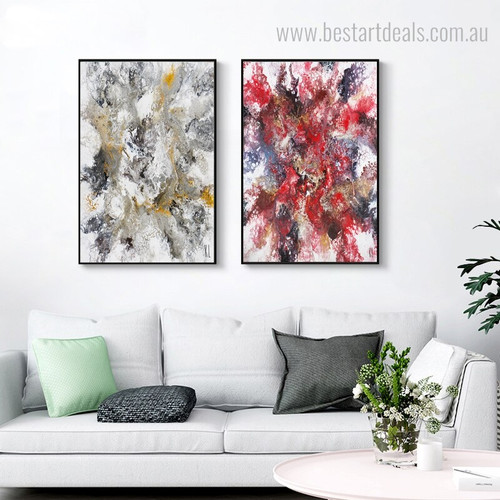 Color Mixture Abstract Modern Framed Smudge Image Canvas Print for Living Room Wall Adornment