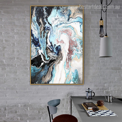 Blend Abstract Modern Framed Portmanteau Portrait Canvas Print for Room Wall Embellishment