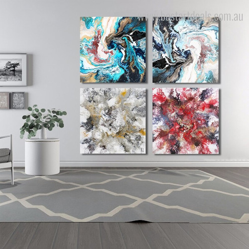 Colorful Fantasia Abstract Modern Framed Effigy Shot Canvas Print for Living Room Wall Finery