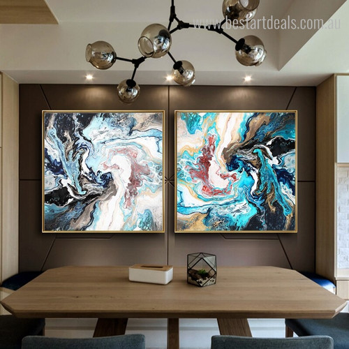 Blend Dye Abstract Contemporary Framed Smudge Photo Print for Dining Room Wall Adornment