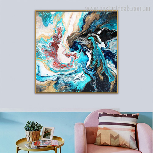 Melange Abstract Contemporary Smudge Picture Canvas Print for Room Decoration