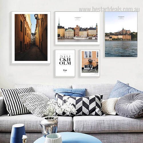 Stockholm City Quote Seascape Framed Painting Picture Canvas Print for Wall Hanging Decor