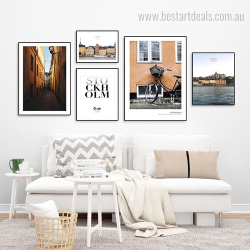 City Water Quote Seascape Framed Portmanteau Picture Print for Room Wall Outfit