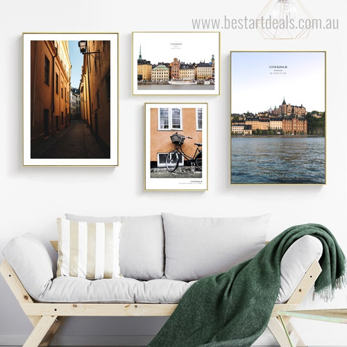 Sweden Cityscape Seascape Framed Effigy Image Canvas Print for Room Wall Ornament