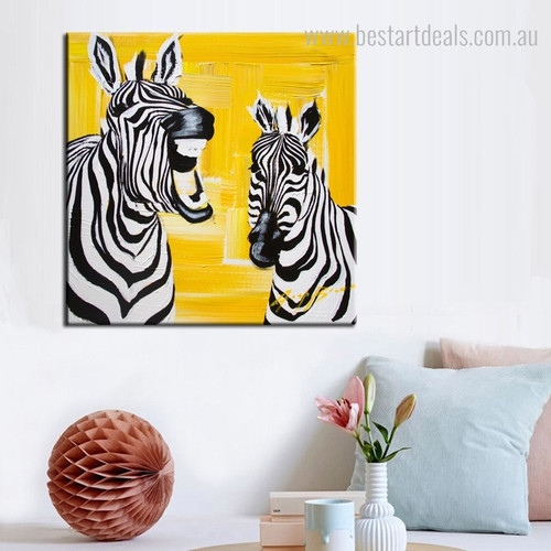 Cute Laughing Zebra Abstract Animal Framed Painting Portrait Canvas Print for Wall Hanging Decor