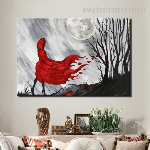 Red Coat Girl Abstract Modern Framed Knife Painting Portrait Canvas Print for Room Wall Tracery