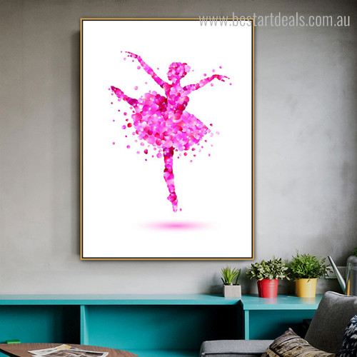 Pink Ballerina Abstract Floral Framed Portmanteau Portrait Canvas Print for Wall Hanging Decor