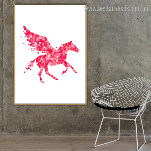 Flying Horse Animal Abstract Framed Effigy Picture Canvas Print for Lounge Room Wall Outfit