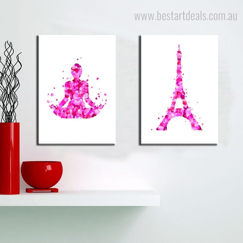 Meditation Eiffel Tower Abstract Floral Framed Painting Portrait Canvas Print for Wall Hanging Decor
