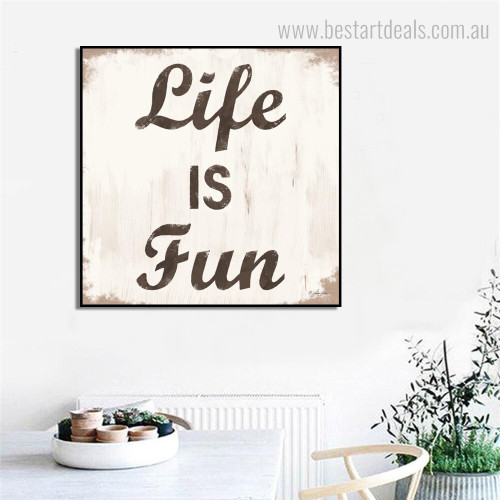 Life Fun Typography Framed Effigy Photo Canvas Print for Room Wall Ornament