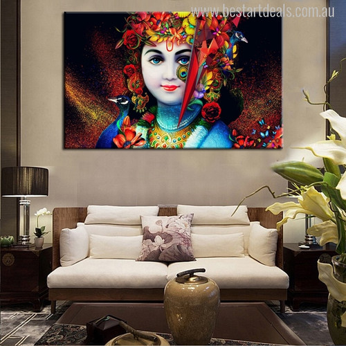 Beautiful Lord Krishna Picture Print for Living Room Wall Decor