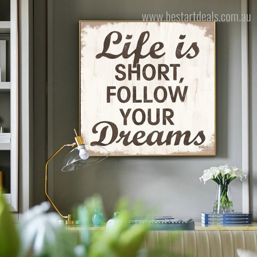 Short Life Typography Framed Painting Image Canvas Print for Room Wall Disposition