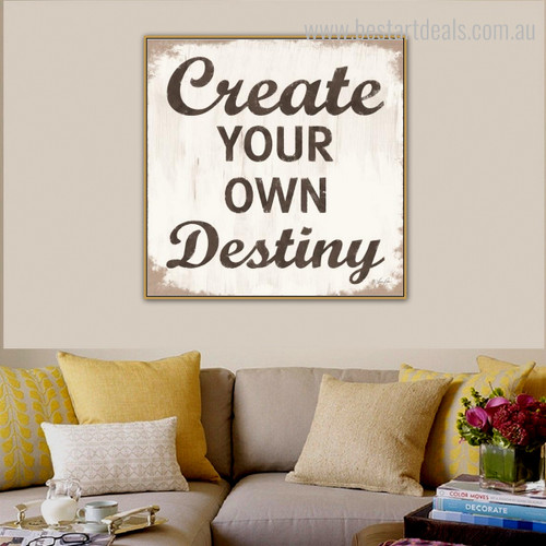Destiny Typography Framed Artwork Photo Canvas Print for Wall Hanging Decor