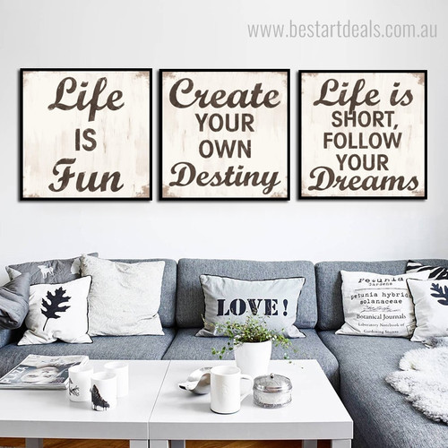 Create life Destiny Typography Framed Smudge Picture Canvas Print for Wall Hanging Decor