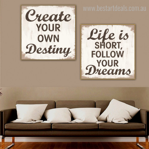 Follow Dreams Typography Framed Vignette Image Canvas Print for Room Wall Outfit