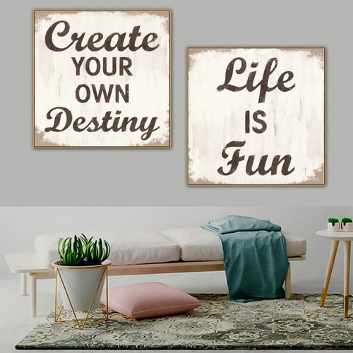 Create Destiny Typography Framed Painting Portrait Canvas Print for Room Wall Embellishment