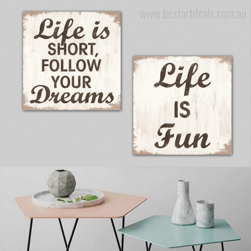 Life Dreams Typography Framed Portraiture Picture Canvas Print for Wall Hanging Decor