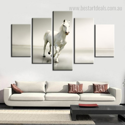 White Horse Animal Modern Framed Painting Portrait Canvas Print for Room Wall Decor