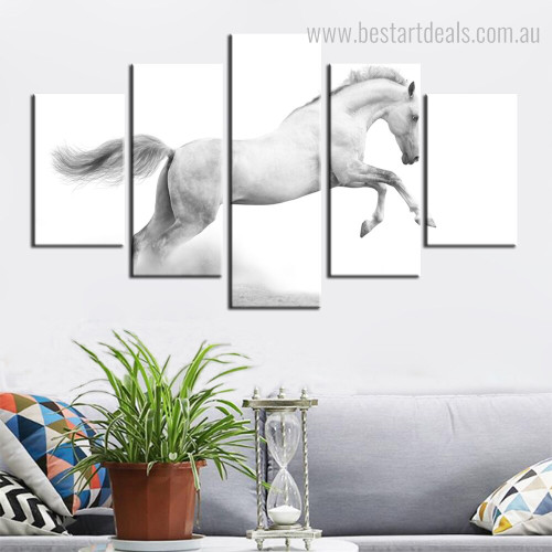 Jumping Horse Animal Modern Framed Artwork Image Canvas Print for Wall Assortment