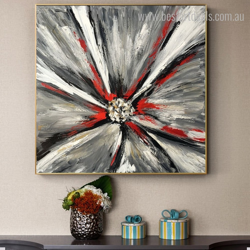 Black Petals Abstract Botanical Modern Framed Handmade Painting Picture Canvas Print for Room Wall Flourish