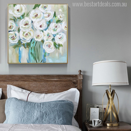 White Rose Flowers Handmade Painting Print for Bedroom Wall Décor