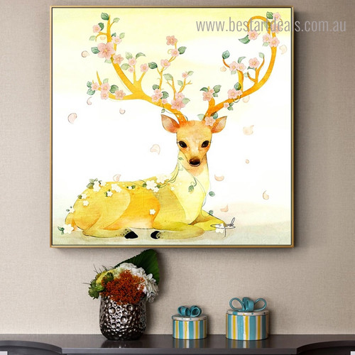 Golden Sika Deer Abstract Animal Framed Artwork Portrait Canvas Print for Room Wall Trimming