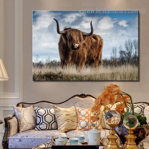 Yak Animal Modern Framed Portmanteau Image Canvas Print for Room Wall Finery