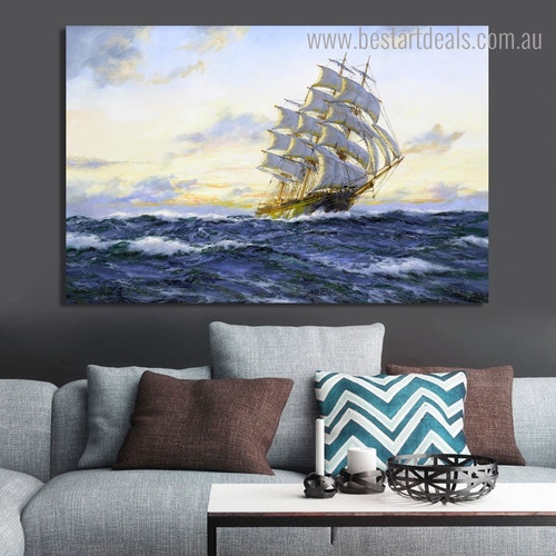 Sea Sailboat Abstract Seascape Landscape Framed Painting Portrait Canvas Print for Room Wall Getup