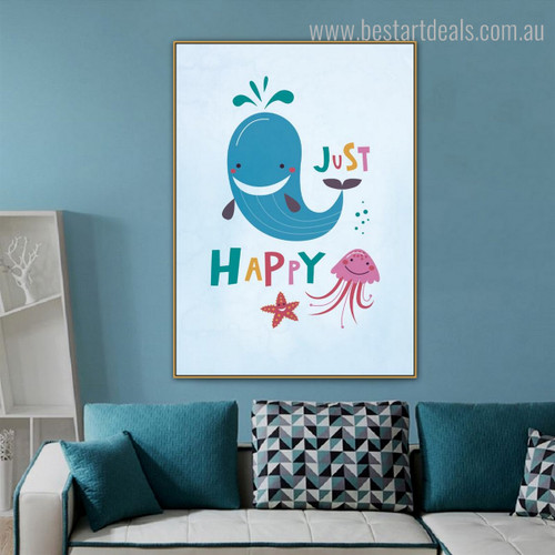 Happy Whale Animal Kids Quote Modern Nordic Framed Painting Picture Canvas Print for Room Wall Outfit