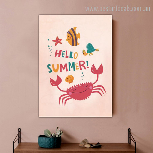Crab Animal Kids Quote Modern Nordic Framed Portmanteau Portrait Canvas Print for Wall Hanging Decor