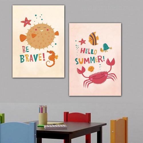 Hello Summer Animal Kids Quote Modern Nordic Framed Artwork Image Print for Wall Hanging Decor