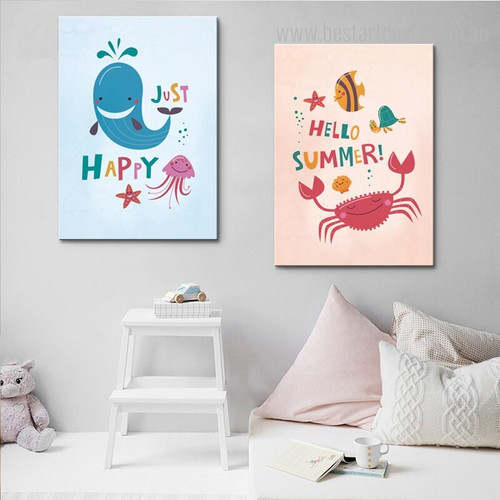 Just Happy Animal Quote Modern Nordic Framed Smudge Picture Print for Kids Room Wall Getup