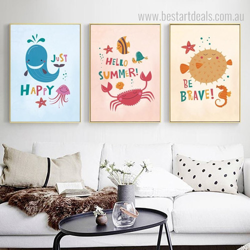 Happy Summer Animal Quote Modern Nordic Framed Painting Portrait Canvas Print for Room Wall Decoration