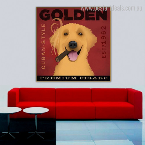 Golden Retriever Animal Typography Modern Framed Portraiture Picture Canvas Print for Room Wall Getup