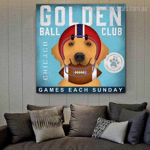 Golden Ball Animal Typography Modern Framed Painting Image Canvas Print for Room Wall Disposition