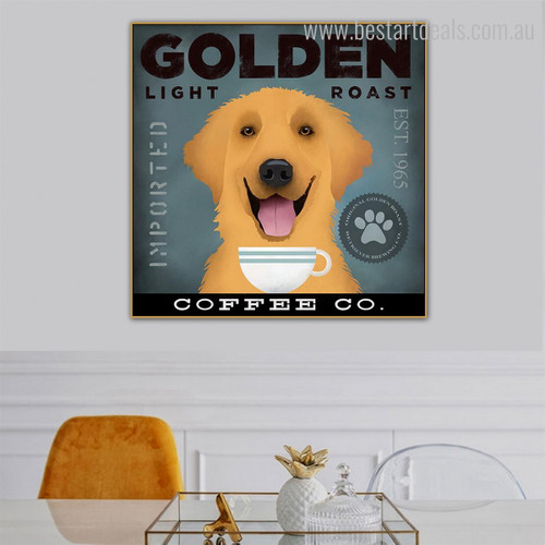 Light Roast Animal Typography Contemporary Framed Painting Photo Canvas Print for Room Wall Disposition