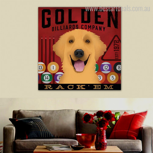 Pool Game Balls Animal Typography Contemporary Framed Artwork Portrait Canvas Print for Room Wall Embellishment