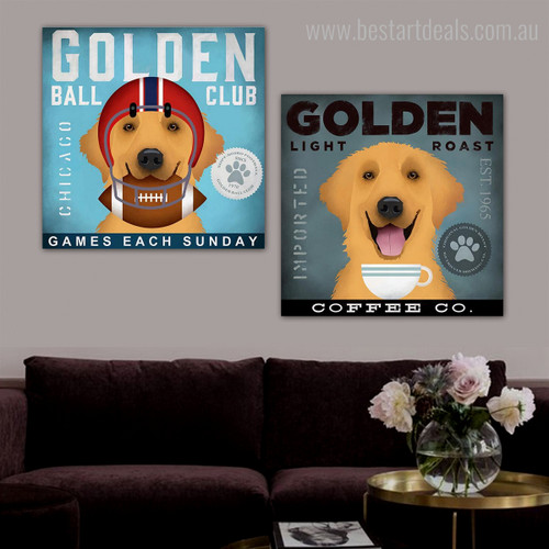 Golden Light Club Animal Typography Contemporary Framed Portraiture Photo Canvas Print for Wall Adornment