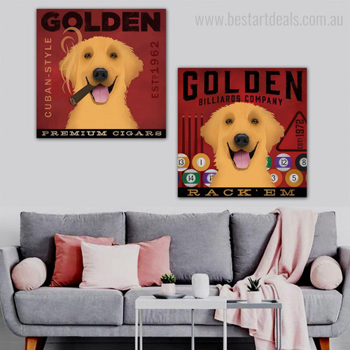 Golden Retriever Dogs Animal Typography Contemporary Framed Painting Picture Canvas Print for Room Wall Getup
