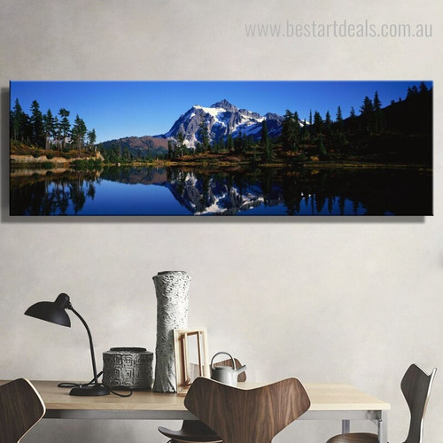 Blue Mountain Nature Landscape Panoramic Framed Artwork Portrait Canvas Print for Room Wall Garnish