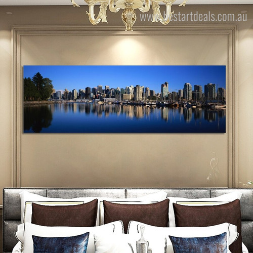 Burg City Landscape Panoramic Framed Painting Picture Canvas Print for Room Wall Equipment